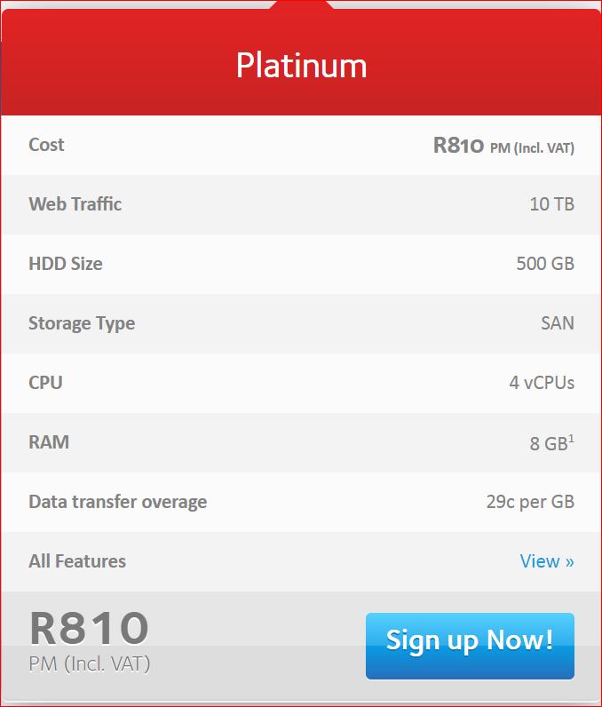 Afrihost platinum cloud hosting